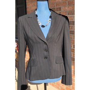 Ann Taylor Loft Pinstripe Black Suit Jacket Sz 4